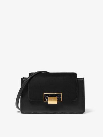 Women's Lock Mini Crossbody Bag Black