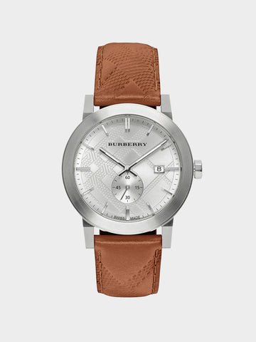Burberry Silver Dial Leather Band Watch