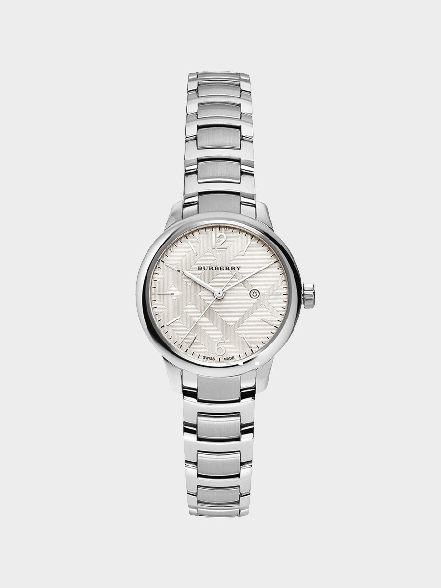 Burberry Silver Dial Stainless Steel Band Watch