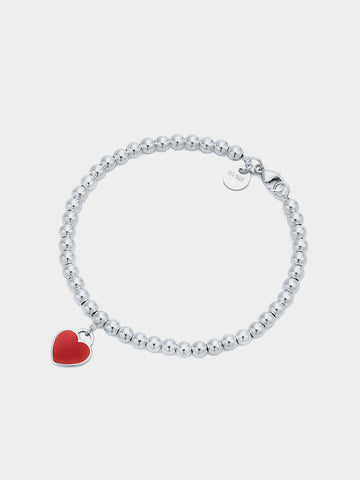 Women's Red Love Heart Pendant Bracelet