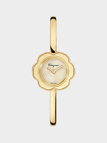 Women's Flower Shaped Watch Gold