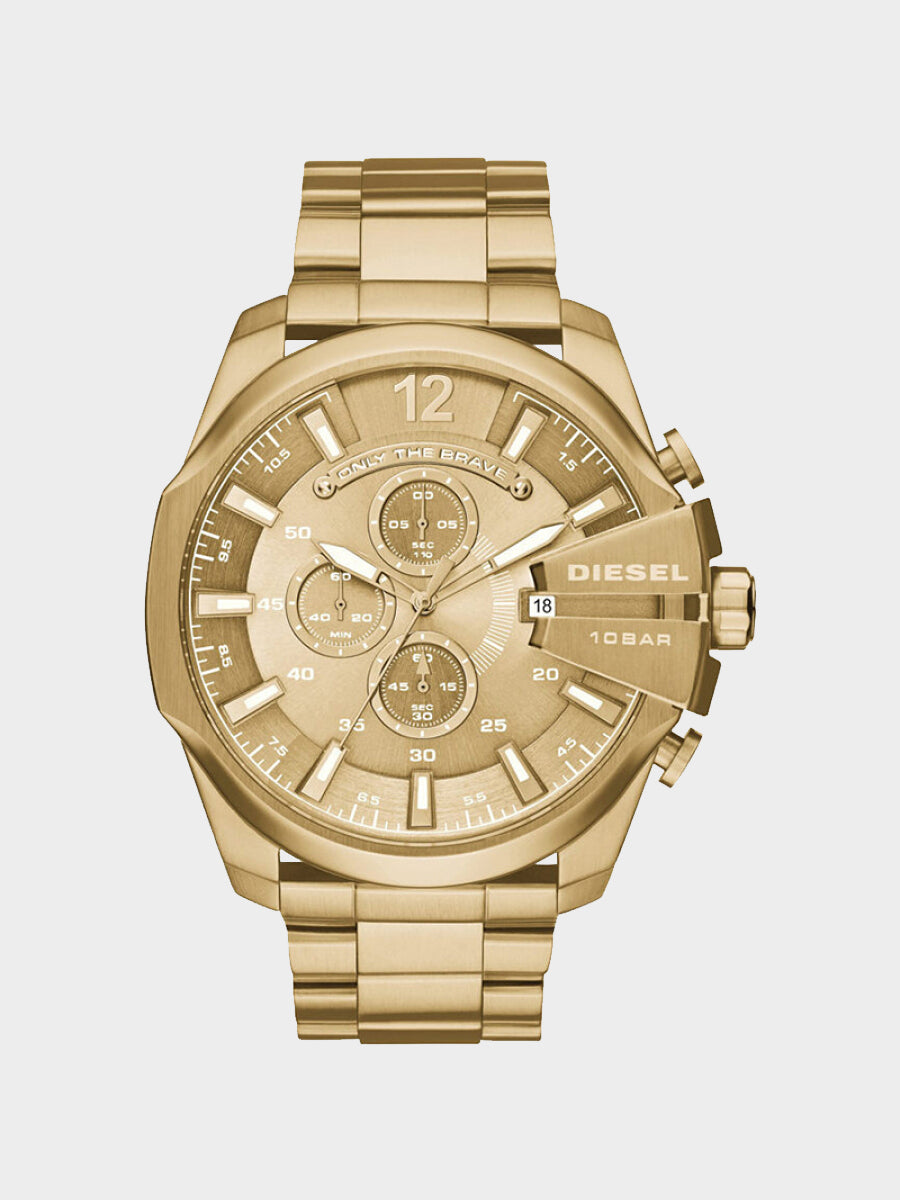 Men's Fashion Quartz Watch Large Dial Chronograph Gold