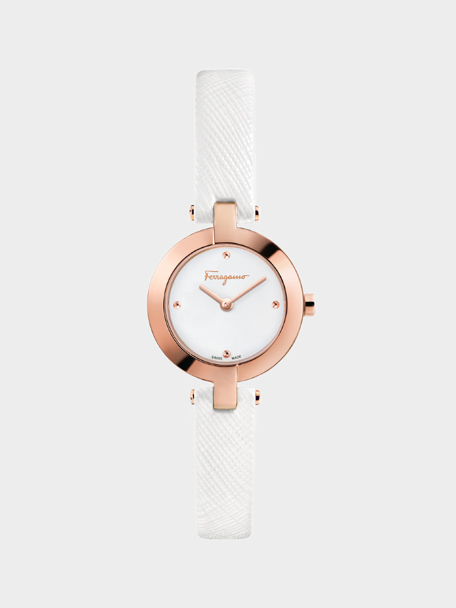 Women's Miniature White Leather Watch