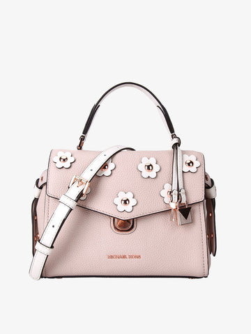 Women's Flower-embellished Leather Bag