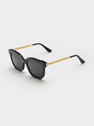 Women's  Gold-tone Metal Temples Sunglasses