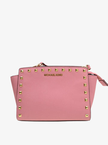 Women's Leather Rivet Shoulder Bag
