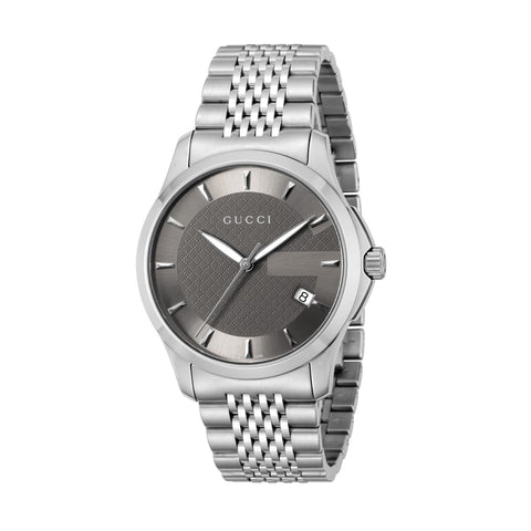GUCCI Men's Silver Tone and Bronze Watch