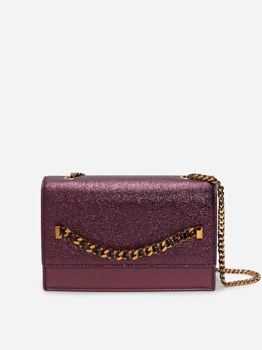 Women's Metal Chain Shoulder Bag Dark Purple