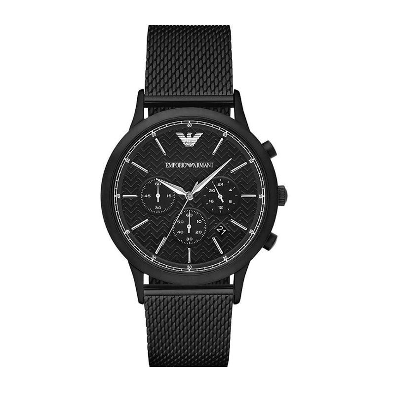 Emporio Armani Men's Black Mesh Quartz Chronograph Watch