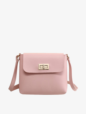Women's  Fashion Pink Lock Single Shoulder Bag