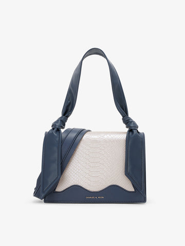 Women's Knotted Shoulder Bag Navy Blue