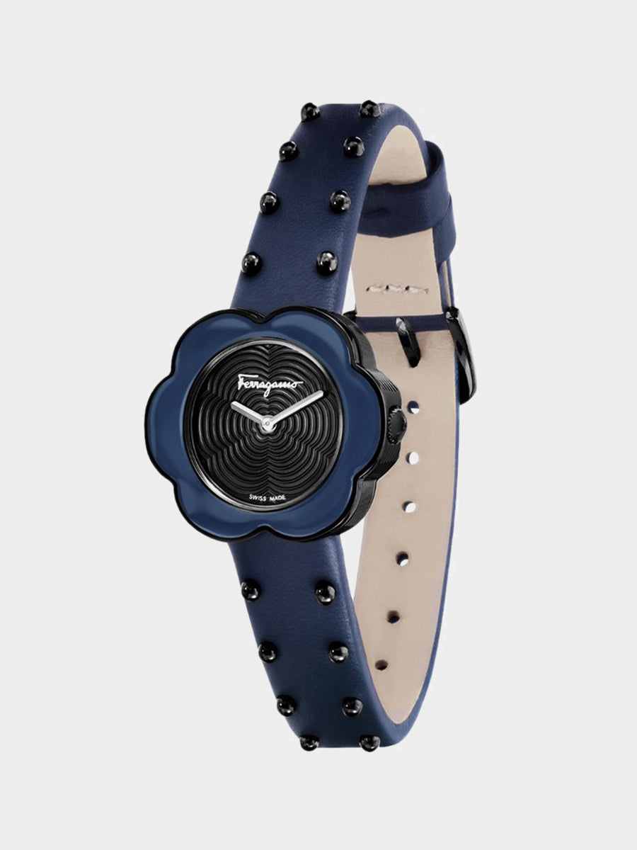 Women's Flower Shaped Watch Dark Blue