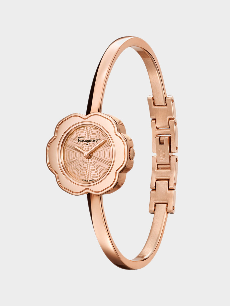 Women's Flower Shaped Watch Rose Gold