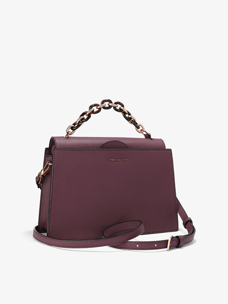 Women's Trapezoid Tote Bag Dark Purple