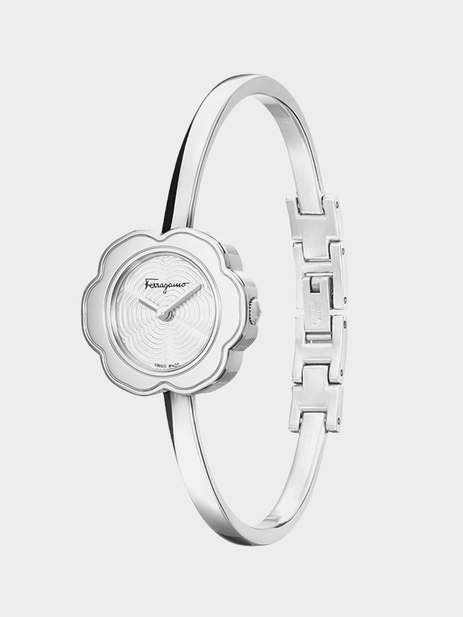 Women's Flower Shaped Watch Silver