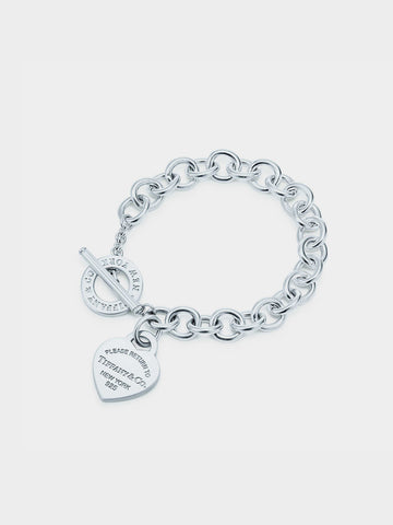 Women's Heart-shaped Tag Pin Buckle  Bracelet