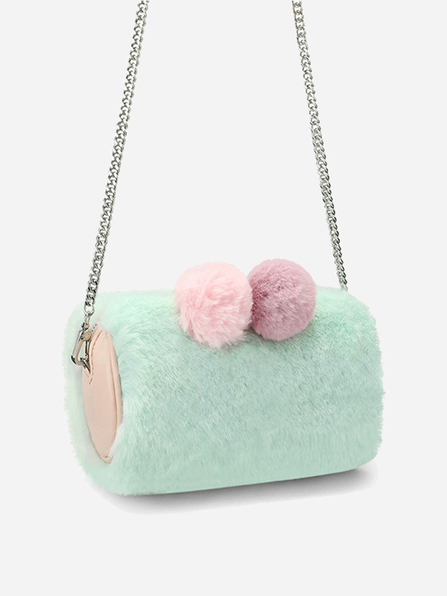 Women's Green Bags With Furry ball decoration