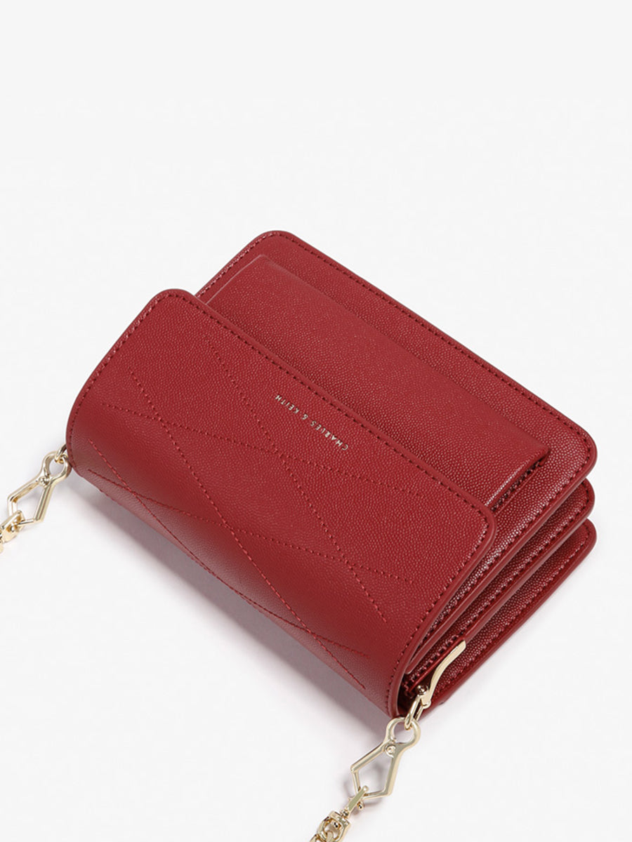 Women's Accordion Clam Shoulder Bag Red