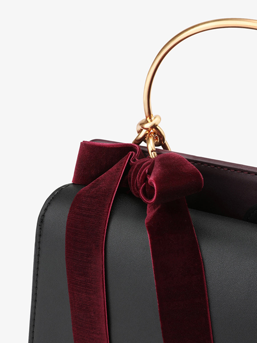 Women's  Bow Decor Shoulder Bag Black