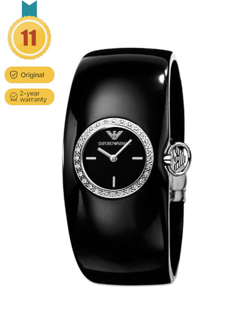Emporio Armani Women's Black Crystal Bracelet Watch