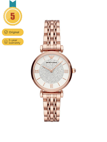 Emporio Armani Women's Rose Gold Glitz Stainless Steel Watch