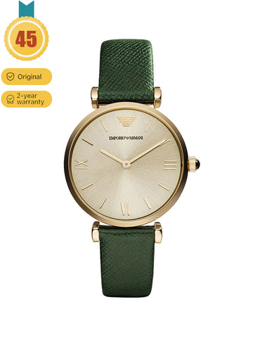 EMPORIO ARMANI Vintage Ladies Green Strap Quartz Watch