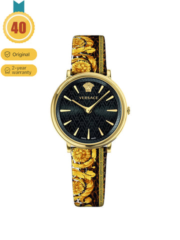 Women's Multicolor Leather Strap Watch