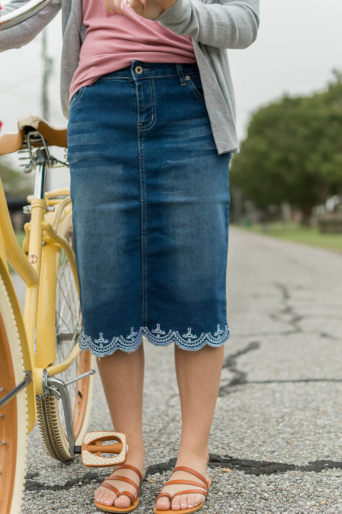 Rose Vintage Denim Skirt