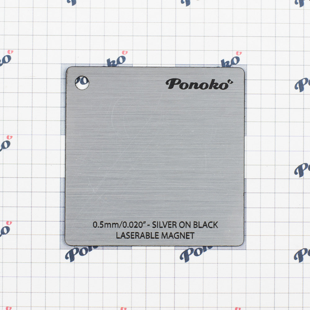 Plastic - Laserable Magnet - Silver on Black