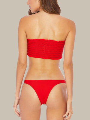 The back of the ELLEJAY Chelsea Top is also a bright red color and strapless.