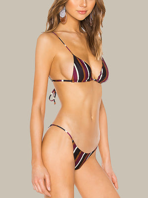 Skin By Same Triangle Top (Wine Stripe)