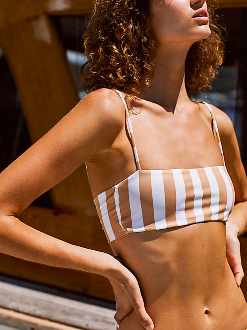 Skin By Same Bandeau Top (White/Nude Stripe)