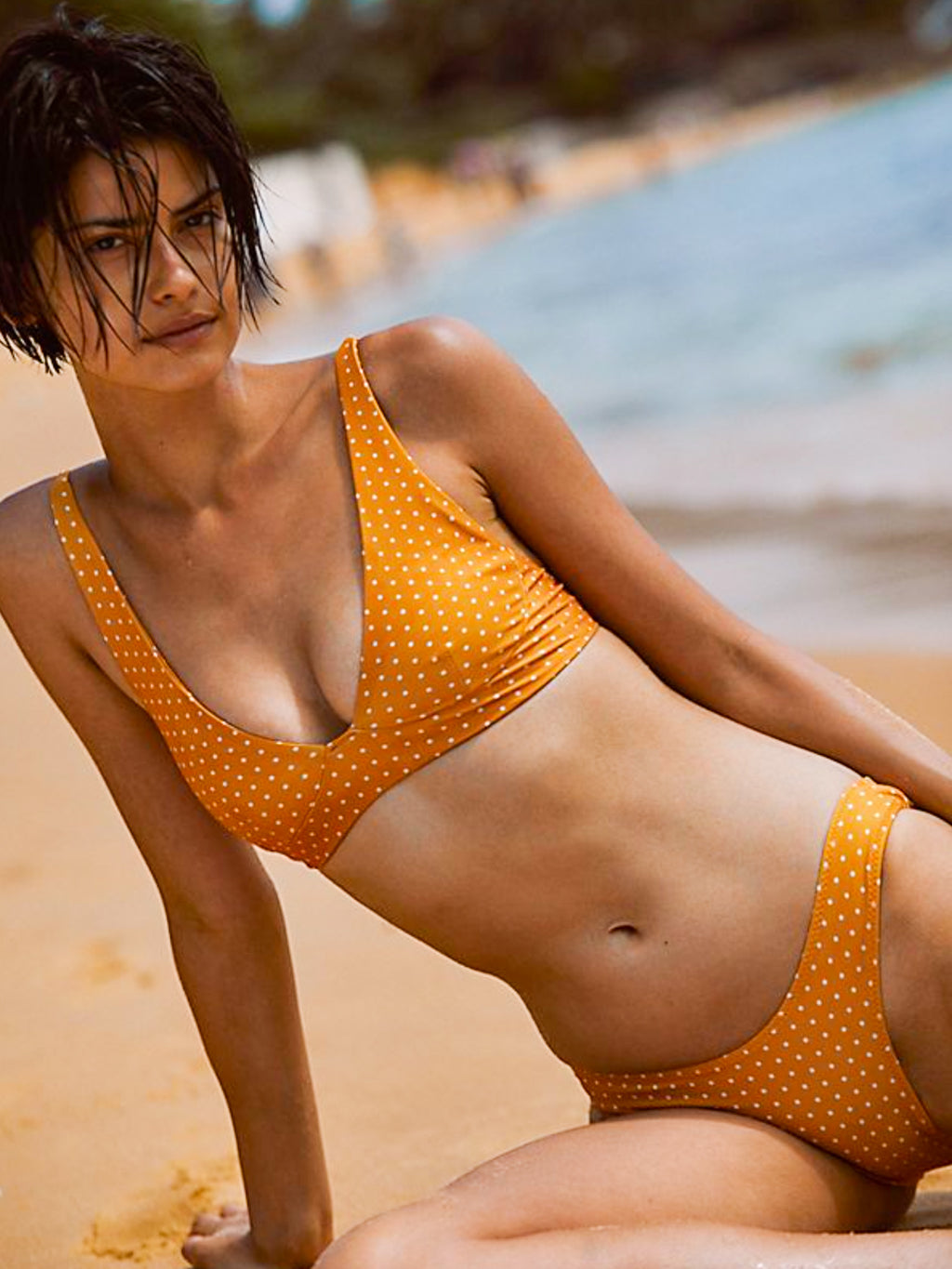 Stone Fox Swim Ziggy Top (Golden Daisy Dot)