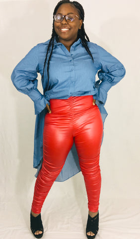 Little Red Corvette PU Pants