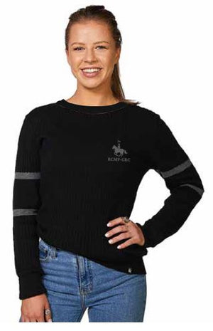 Ladies Ribbed Crossbar Crew Neck