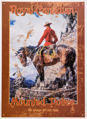 Mountie On Horseback Tin Sign