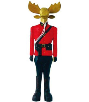 Wooden Moose Mountie Statue