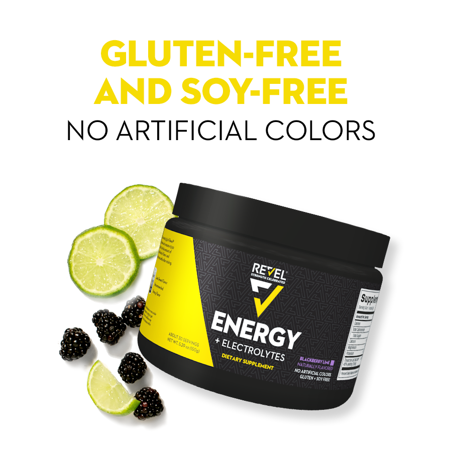 Revel Energy is gluten-free and soy-free with no artificial colors