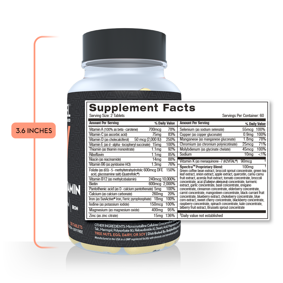 Revel Multivitamin back bottle shot with listed supplement facts