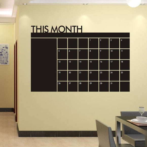 Month Plan Vinyl Wall Chalkboard Calendar Decal