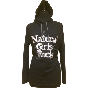"Natural Girls Rock - ""WHITE LABEL"" - Long Sleeve Hooded Shirt"