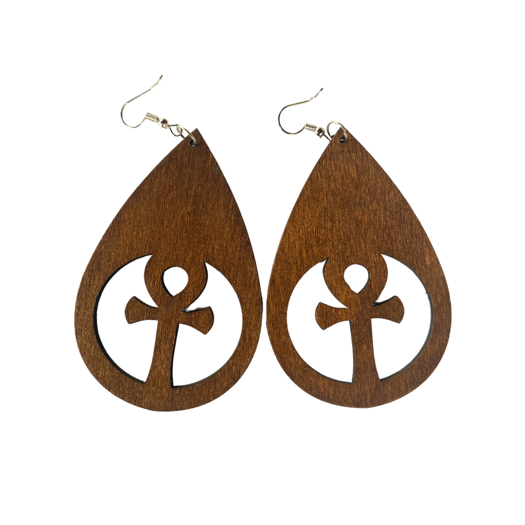 """Essence of Ankh"" Light Weight Wooden Earrings"