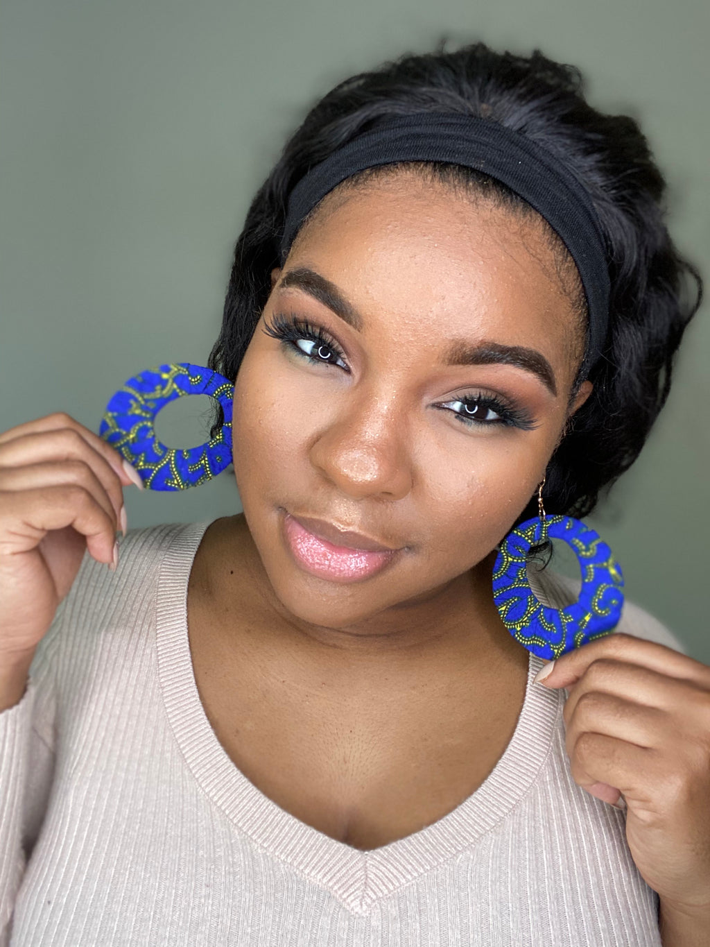 """Never Have The Blues"" Light Weight Wooden Earrings"