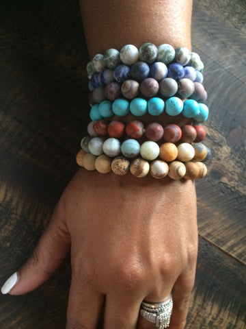 Semi-Precious Stone Beaded Stretch Bracelet - Premium Collection