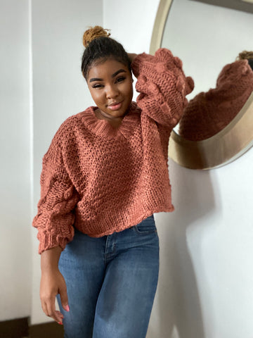 """Mama Made It."" Chunky Sweater"
