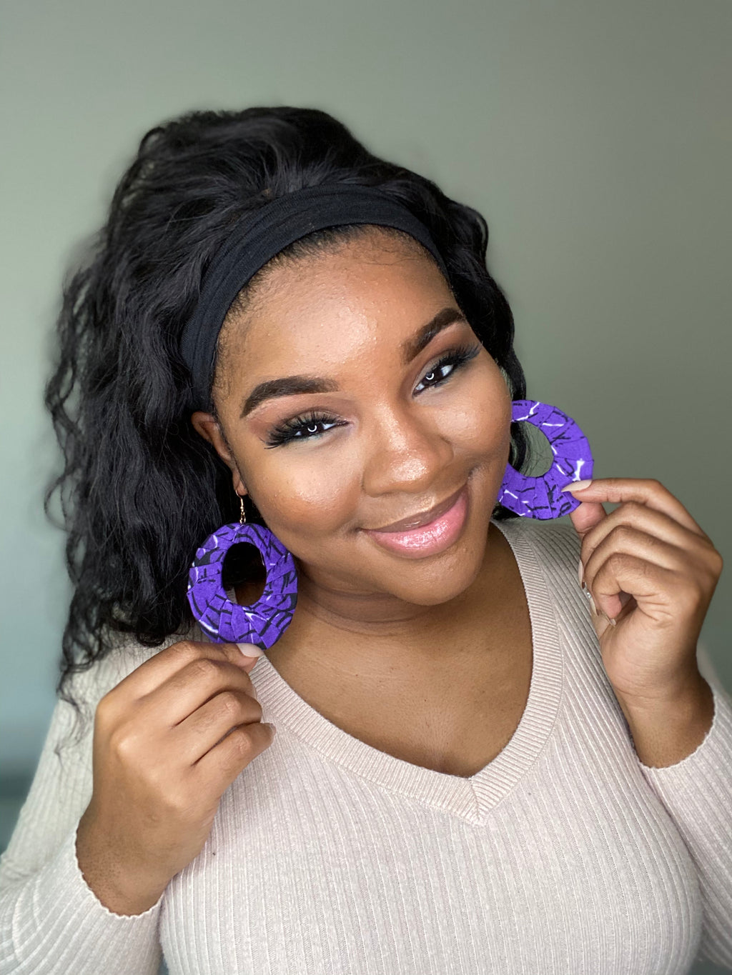 """Purple Royalty"" Light Weight Wooden Earrings"