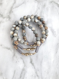 """Shades of Gray"" Style Stackers - 4 Stack"