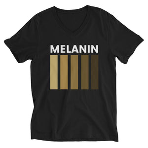 """Melanin"" Unisex Short Sleeve V-Neck T-Shirt"