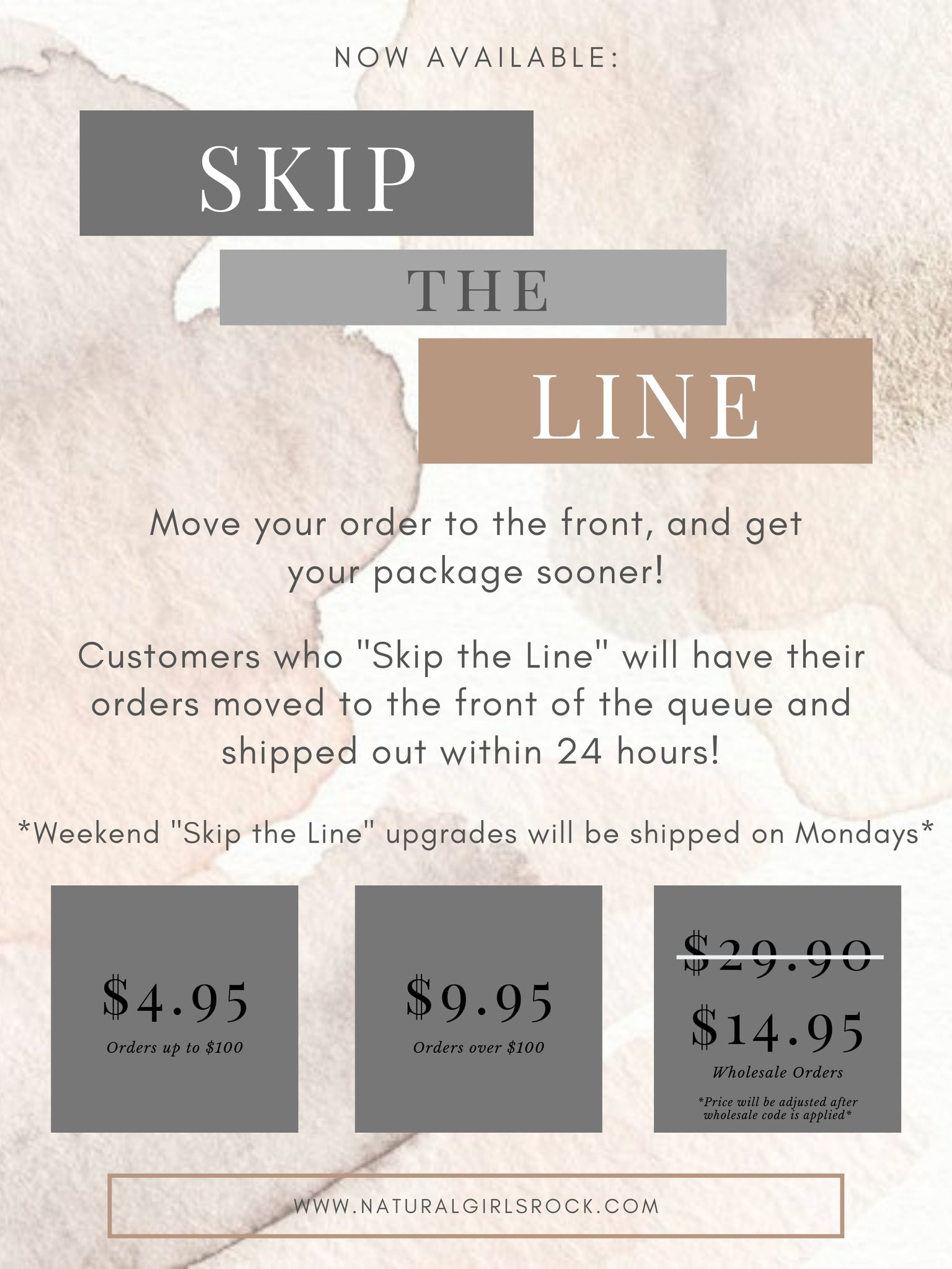 """Skip the Line"" Upgrade"