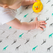 Load image into Gallery viewer, Giraffes organic swaddle blanket 120 x 120cm